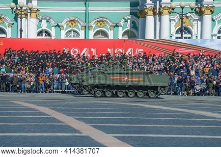 Saint Petersburg, Russia - May 06, 2018: Two Infantry Fighting Vehicles (bmp-3) Against The Backgrou