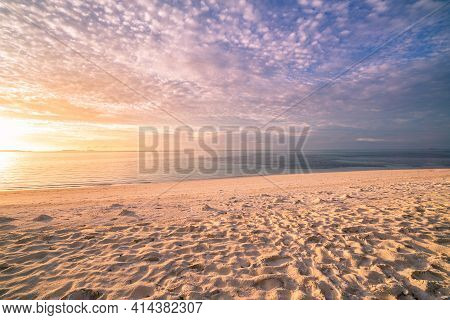 Beautiful Cloudscape Over The Sea Horizon, Sunset View. Tranquil, Relax Nature View, Seascape. Soft