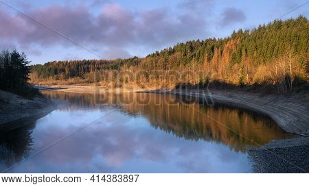 Panoramic Image Of Dhunn Water Reservoir At Sunrise, Bergisches Land, Germany