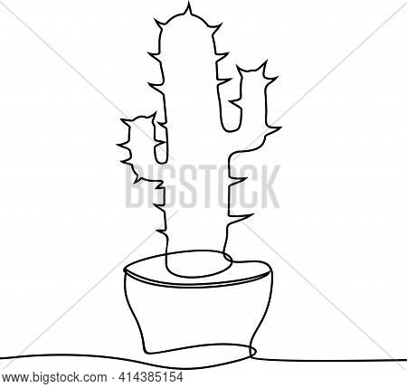 Continuous One Line Drawing. House Cactus In Pot. Single Continuous Line Drawing Cute Potted Tropica