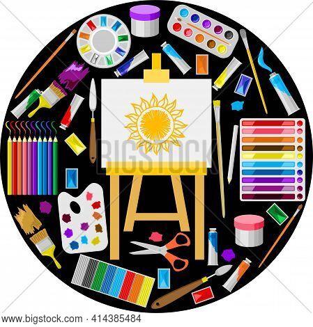Painting Art Tools. Cartoon Paint Arts Vector Artistic Elements, Brush, Palette, Watercolor Tubes, E