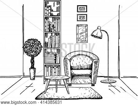 Modern Interior Hand Drawing Vector. Sketch Of The Interior. Bookcase, Armchair, Coffee Table And Ot