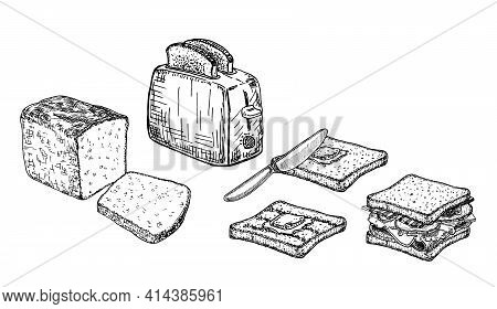 Electric Toaster With A Slice Of Toasted Bread, Sandwich. Cooking Breakfast, Vector Sketch. Recipes