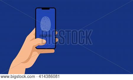Phone And Fingerprint. Concept Of Access Code, Biometric Control, Authority Identity, Security. Huma