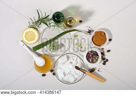 Group Of Products For Diy Natural Cosmetic. Homemade Natural Skin Care Products. Eco Friendly Cosmet