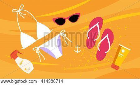Flat Lay: White Bikini, Flip Flops, Sunscreen And Eyeglasses. Summer Accessories On Sandy Beach. Vec