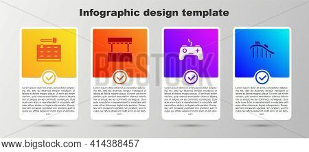 Set Arcade Game Machine, Ticket Box Office, Gamepad And Roller Coaster. Business Infographic Templat