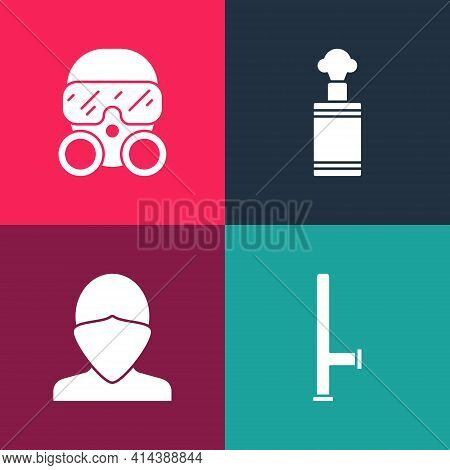 Set Pop Art Police Rubber Baton, Vandal, Hand Grenade And Gas Mask Icon. Vector