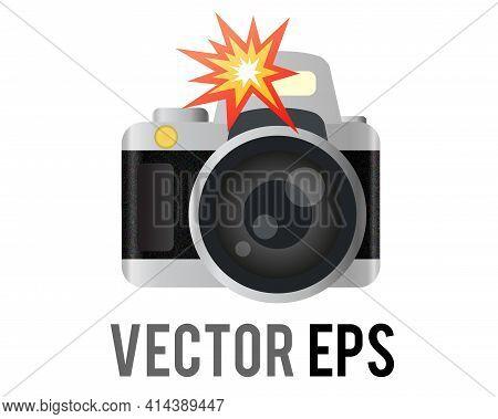 The Isolated Vector Classic Profession Black, Silver Digital Single Lens Reflex Dslr Camera Icon Wit