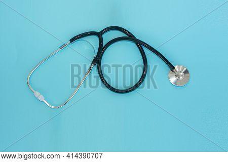 Stethoscope Light Blue Background Concept Healthy Insurance, Headphones Light Blue Background Medica