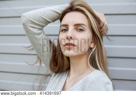 Beautiful Young Woman In Blouse, Portrait Of Cute Attractive Caucasian Model