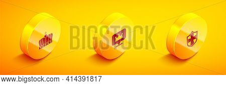 Set Isometric King Crown, Location King And Shield Icon. Vector