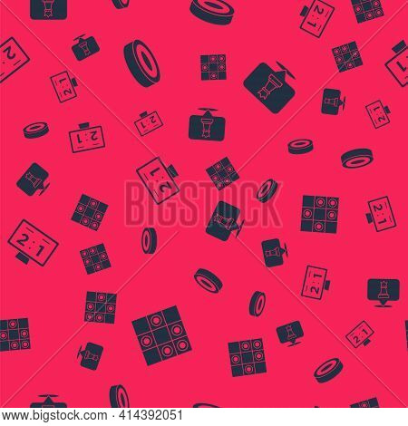 Set Board Game Of Checkers, Checker Chips, Sport Mechanical Scoreboard And Chess On Seamless Pattern