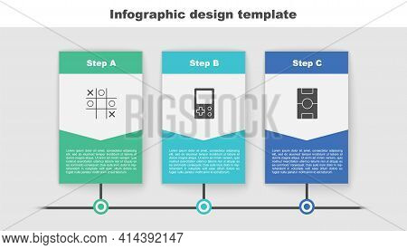 Set Tic Tac Toe Game, Tetris And Hockey Table. Business Infographic Template. Vector
