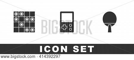Set Board Game Of Checkers, Tetris And Racket Icon. Vector