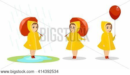 Little Smiling Child Girl In Yellow Raincoat And Rubber Boots Standing With Umbrella In Puddle. Afte