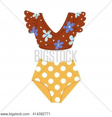 Womens Two-piece Swimsuit. Retro Style Swimsuit. Vector Flat Illustration