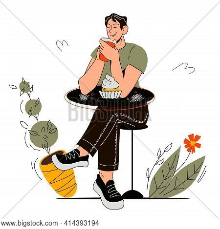Young Man Drinking Coffee And Eating Cupcake. Isolated Student Waiting For Order. Cartoon Character
