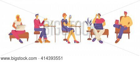 People At Office Or Open Workspace, Coworking Center, Flat Vector Illustration. Business People, Men