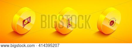 Set Isometric Telephone Call 911, Bucket Extinguishing Fire And Ringing Alarm Bell Icon. Vector