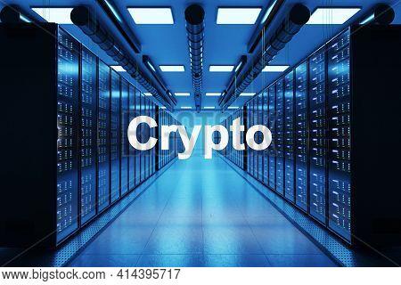 Crypto Logo In Large Data Center With Multiple Rows Of Network Internet Server Racks, 3d Illustratio