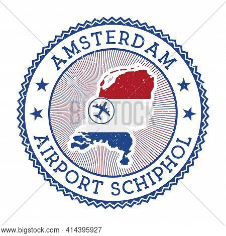 Amsterdam Airport Schiphol Stamp. Airport Logo Vector Illustration. Amsterdam Aeroport With Country