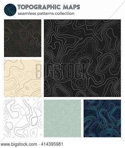 Topographic Maps. Astonishing Isoline Patterns, Seamless Design. Cool Tileable Background. Vector Il