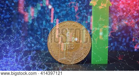 Bitcoin Stock Growth. Chart Shows A Strong Increase In The Price Of Bitcoin. Investing In Virtual As