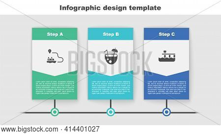 Set Ship Line Path, Coconut Cocktail And Beach Pier Dock. Business Infographic Template. Vector