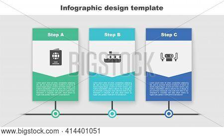 Set Passport, Beach Pier Dock And Poker Table. Business Infographic Template. Vector