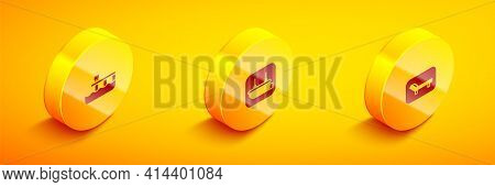 Set Isometric Beach Pier Dock, Lifeboat And Sunbed And Umbrella Icon. Vector
