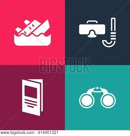 Set Pop Art Binoculars, Brochure, Diving Mask And Snorkel And Sinking Cruise Ship Icon. Vector