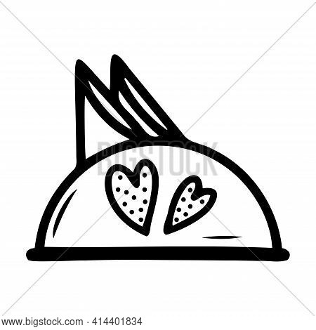 Hand Drawn Napkin Holder On A White Isolated Background. Elements Of Kitchen Utensils. Doodle, Simpl
