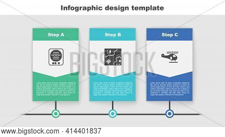 Set Attitude Indicator, World Travel Map And Helicopter. Business Infographic Template. Vector