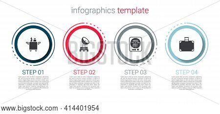 Set Trolley For Food, Radar, Attitude Indicator And Suitcase. Business Infographic Template. Vector
