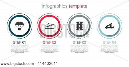 Set Box Flying On Parachute, Plane Takeoff, Airport Runway And Passenger Ladder. Business Infographi