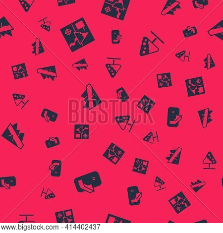Set Ice Hockey Goal, Folded Map, Mountain Descent And Road Sign Avalanches On Seamless Pattern. Vect