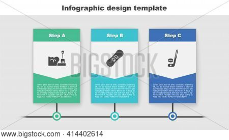 Set Shovel In Snowdrift, Snowboard And Ice Hockey Stick And Puck. Business Infographic Template. Vec