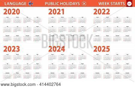 2020-2025 Year Calendar In Norwegian Language, Week Starts From Sunday. Vector Calendar.