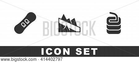 Set Snowboard, Mountain Descent And Stone For Curling Icon. Vector