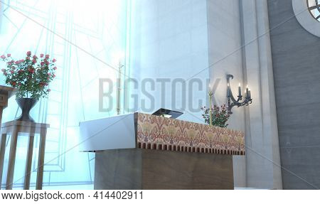 A Light Church Interior Lit By Suns Rays Through A Crucifix Stained Glass Window Lighting The Altar