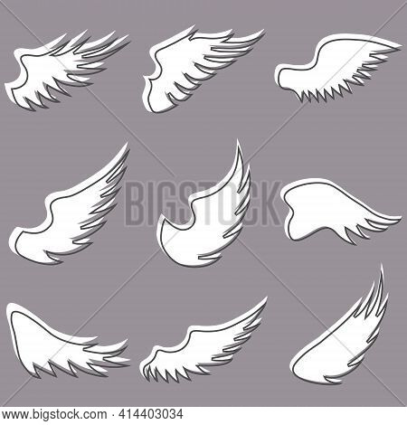 Angel Wings. Set Of White Angel Wings On A Dark Background. Vector Illustration. Vector.