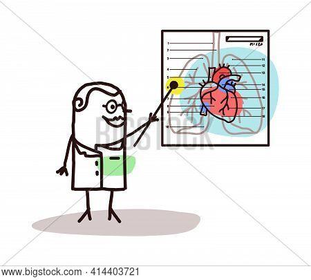 Hand Drawn Cartoon Doctor Explaining The Cardiac System