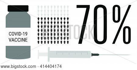 Covid-19 Vaccination Process. 70 Percent Of Vaccinated Population. Coronavirus Vaccine People Progre