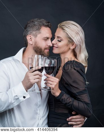 Couple In Love. Couple Drink Champagne. Celebrate Special Occasion. Love Romantic Date.