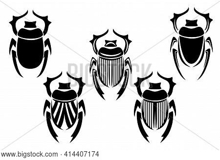 Sacred Scarab Beetle Black And White Vector Design Set - Ancient Egyptian Symbol Of Rising Sun And G