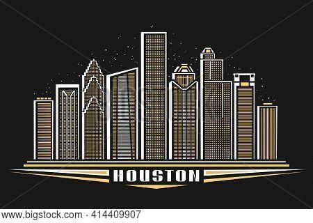 Vector Illustration Of Houston, Horizontal Poster With Outline Design Illuminated Houston City Scape