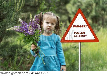 Warning Sign: Danger Pollen Allergy. Sad Child Girl With A Bouquet Of Wildflowers. The Child Suffers