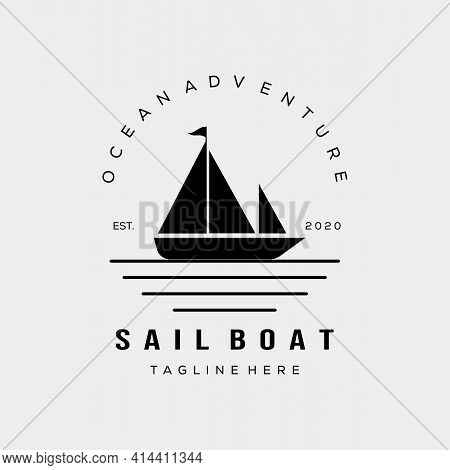 sailboat sunset silhouette icon logo vector illustration design