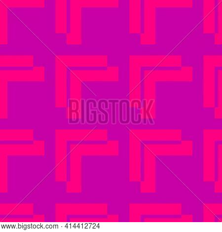Vector Geometric Seamless Pattern. Abstract Texture With Square Shapes, Grid, Lattice. Stylish Moder